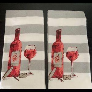 New set of Boho Farmhouse Wine Towels